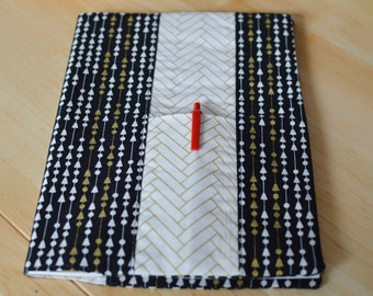 Arrow and Gold Fabric Journal, Journal Cover, Notebook Cover, Fabric Notebook, Elegant Journal, Arrow Journal