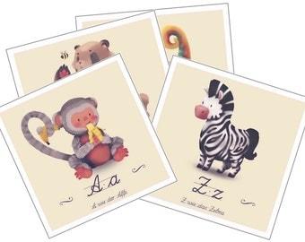 Animal alphabet for children - 26 prints