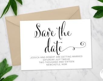 Printable Save the date | Wedding invitation | 'Toni' suite