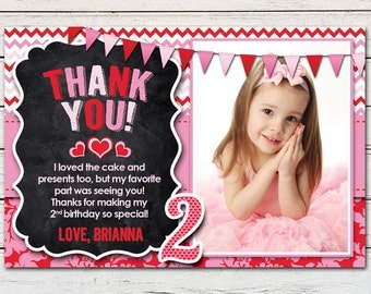 """Heart Valentine Sweetheart Printable 4"""" x 6"""" Thank You Card - DIY - PDF & JPG Files only"""
