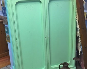 Antique Shabby Chic Painted Armoire