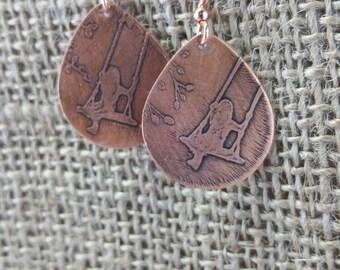 Etched Copper Little Girl Swinging Metalwork Earrings