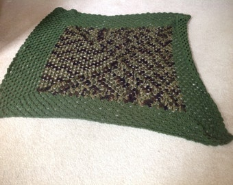 Crochet camp army blanket for veterans and for their family.