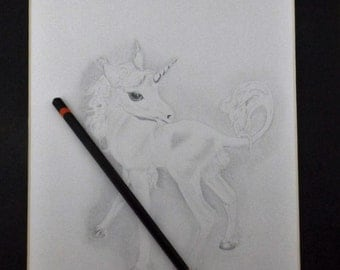 Print of baby Unicorn, graphite pencil drawing, hand signed by artist