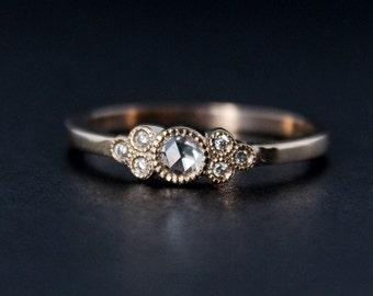 Rose Cut Diamond Engagement Ring - Hand Milgrain - Vintage Inspired - 14kt Rose Gold