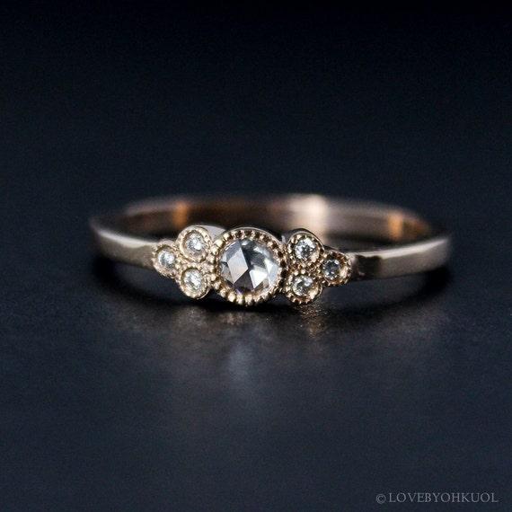 rose cut diamond engagement ring hand milgrain vintage. Black Bedroom Furniture Sets. Home Design Ideas