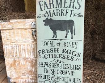 "Rustic Wood Sign ""Farmer's Market. . ."" Farmhouse Style Farm Life Wooden Sign Hand Painted Farmer's Market Decor"