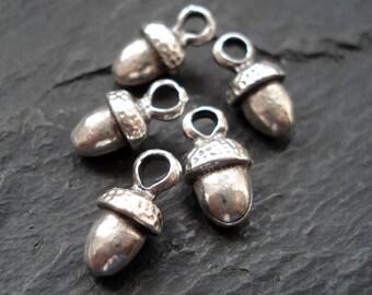 Antique Silver Acorn Charm, Pack of 10, Mykonos Beads, Greek Beads