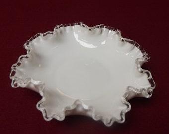 White Fenton Glass Dish