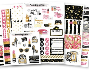 Classy & Fabulous//VERTICAL Weekly Kit for Erin Condren, Happy Planner//Glitter Fashion Sticker Set//7 Sheets of Stickers//B007