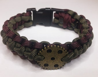 Olive Green and Brown Steampunk Paracord Bracelet