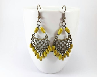 Yellow Boho Chic Earrings,Gypsy Jewelry,Bridesmaid,Gift for her,Wedding,Bridal,Drop Earring,Long Earrings,Dangle Earring,Prom,Vintage,Beach
