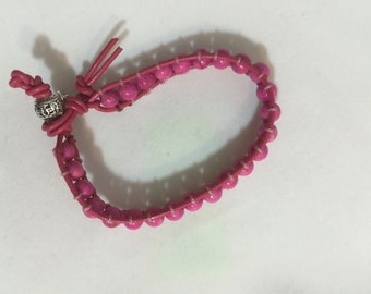 Pink Stone with Pink Leather Wrap Bracelet