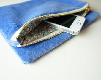 Foldover Clutch Bag / Evening Bag / BLUE VELVET / Handy Clutch
