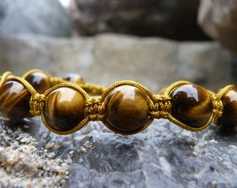 Tiger eye Shamballa Bracelet.Gold Macrame Bracelet.The Protective Stone.Free shipping USA