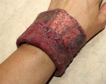 Hand felted, embroidered bracelet
