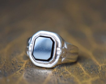 Black Gemstone Silver 925 Vintage Solitaire Ring, US Size 12.0, Used