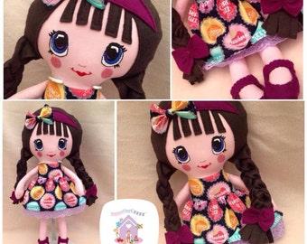 Cute Handmade Fabric Doll Ready To Buy Peggy Sue Retro Doll