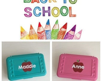 BACK TO SCHOOL -- Personalized Pencil Box -- School Supply Box with Name