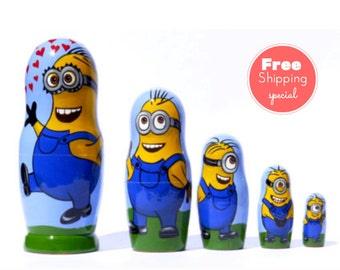 Free Shipping * Minions * Nesting dolls for kids (5 pieces set) * Matryoshka * Russian nesting dolls * Babushka dolls * Nesting dolls,