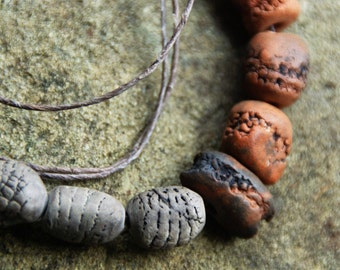 pit fired and  naturally dyed clay bead necklace
