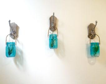 Rustic Hanging Mason Jars with Antique Hooks (Set of 3), Rustic Decor, Rustic Vases, Farmhouse Decor