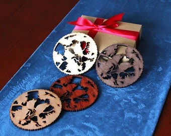 Birds Coaster ,Laser Cut Wood Coasters - Set of 4 - Personalized Gift, Holiday Gift Box , Timber Green Woods - B010