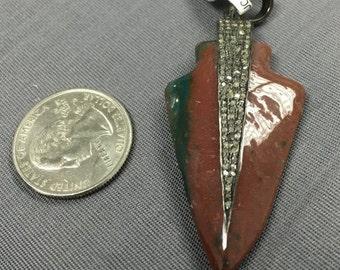 Natural Diamond and Agate Arrowhead Pendant