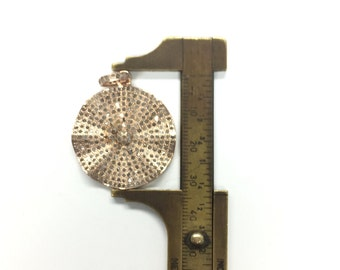All Diamond Pave Rose Gold Plated Wavy DiscPendant