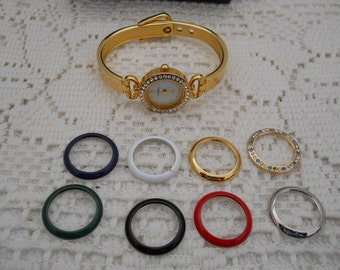 Vintage Changeable Face Bracelet Watch By Peugeot #569
