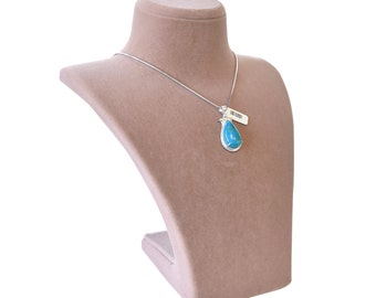 Turquoise Tulip II. 925 Sterling Silver Necklace with Silver Chain