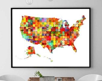 US Map Print, US Map Printable, Watercolor Map Print, US Map Nursery Decor, Instant Download, United States Map