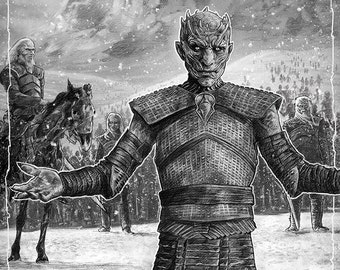 The Night King and The Dead - Game of Thrones illustration A3 print