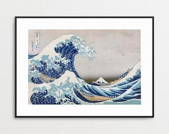 The Great Wave - Under the Wave off Kanagawa - Hokusai -  Woodblock Japanese Art - Asian Art - Ukiyo-e - Asian Wall Art - Free Shipping US
