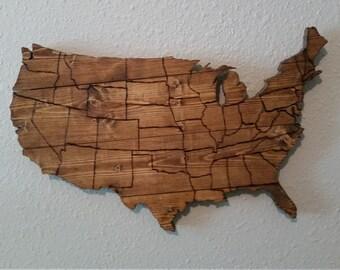 USA Map Wooden Wall art