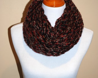 Red Black, and White Marbled Infinity Scarf