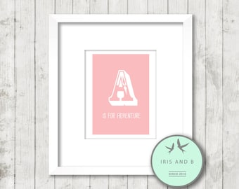 A is for adventure pink print