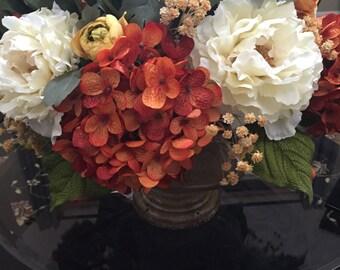 Silk Flower Arrangement, Centerpiece, Rust Hydrangea, Cream Peonies, Ranunculus Flowers, Wedding Centerpiece, Wedding, Venue, Gift, Elegant