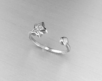 Sterling Silver Star Toe Ring W/ CZ, Midi Ring, Pinky Ring, Knuckle Ring