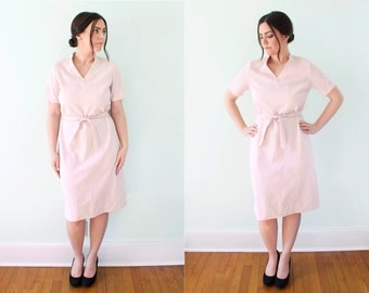 60s Pale Pink Textured Shift Dress with Belt Retro