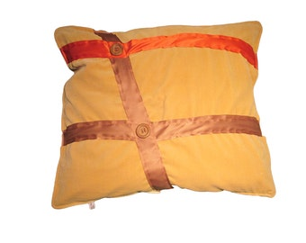 Beige velor cushion orange line 2