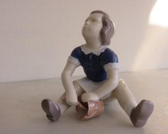 Bing & Grondahl porcelain  from Denmark: Porcelain Young Girl with Bucket Vintage 1950