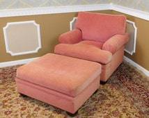 Comfortable Over-Stuffed Ethan Allen Pink Upholstered Chair And A Half w/ Ottoman #20-7121 ~ 1994