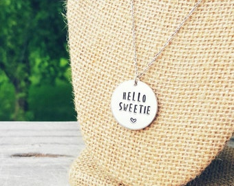 Hello Sweetie necklace- Doctor Who inspired. You choose the length