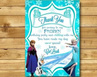 Frozen Thank You Card, Frozen Birthday Party, Frozen Fever Frozen Party Printables Ana Elsa Frozen Birthday Thank You DIGITAL 4x6