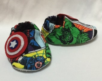 Marvel, Avengers, Captain America, Hulk, Iron Man, Thor, baby booties, soft soled shoes, crib shoes
