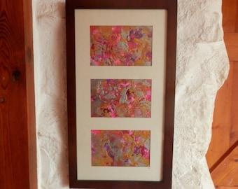 Original abstract, Metallic Art,  Triptych. Modern Art, Pink Abstract, Triptych , Original Artwork, metallic triptych, Wall Art