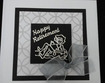 Happy Retirement card, monochrome, black and white,