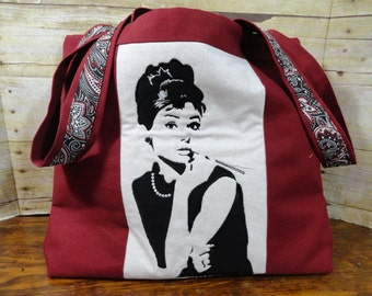 Tote Bag - Canvas and Linen - Audrey Hepburn - Applique and Embroidery - Holly Golightly - Breakfast at Tiffanys
