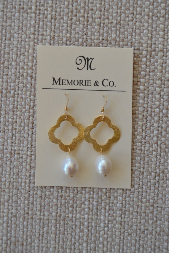 Gold Plated Quatrafoil Earrings with Genuine Freshwater Pearl Drops